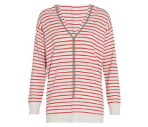 Bead-embellished striped cashmere hooded sweater