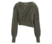 Cropped Cutout Cotton-blend Sweater Army Green