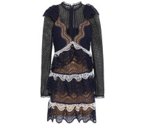 Tiered Guipure Lace And Broderie Anglaise Mini Dress Navy