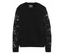 Natalie guipure lace-paneled wool-blend sweater