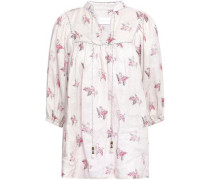 Floral-print Linen-gauze Blouse Off-white Size 0