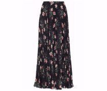 Pleated floral-print georgette midi skirt
