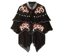 Poppies Ruffled Embroidered Silk-georgette Jacket Black  /M