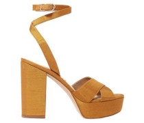 Mara Dupion Platform Sandals Saffron Size 11