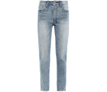 Frayed Mid-rise Slim-leg Jeans Mid Denim  6