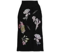 Embellished Embroidered Wool-crepe Skirt Black