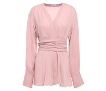 Tie-back Silk Crepe De Chine Blouse Baby Pink