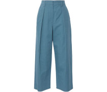 Cropped pleated cotton-blend wide-leg pants