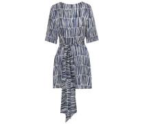 Printed silk-satin mini dress