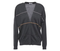 Woman Bead-embellished Cotton Cardigan Anthracite