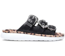 Buckle-detailed Embellished Leather Slides Black