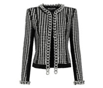 Chain-trimmed Embellished Tweed Jacket Black