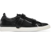 Paneled smooth and sliced patent-leather sneakers