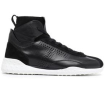 Suede-trimmed Leather Sneakers Black