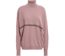 Woman Bead-embellished Cashmere Sweater Lavender