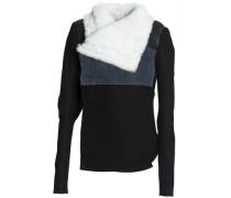 Shearling-paneled denim and leather jacket