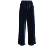 Woman Velvet Wide-leg Pants Royal Blue