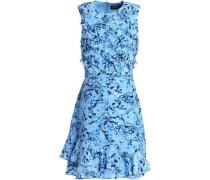 Ruffled floral-print silk-georgette mini dress