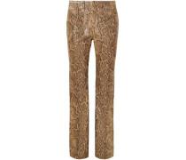 Snake-effect Leather Straight-leg Pants Animal Print