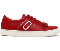 Embellished Leather Sneakers Claret