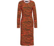 Tiger-print Stretch-cotton Jersey Dress Orange