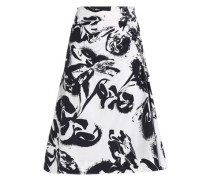 Gathered printed cotton-blend poplin skirt
