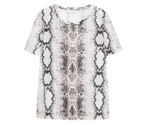 Woman Snake-print Cotton And Linen-blend T-shirt Animal Print