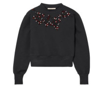 Cropped Embellished Cotton-jersey Sweatshirt Black