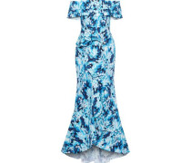 Off-the-shoulder Ruffled Printed Woven Gown Indigo