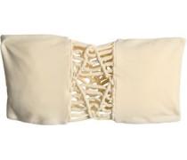 Tonga macramé-paneled bandeau bikini top