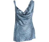 Draped Printed Silk-blend Satin Top Storm Blue