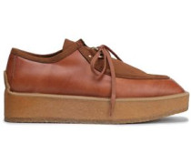 Faux leather and suede platform brogues
