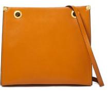 Woman Eyelet-embellished Leather Shoulder Bag Camel