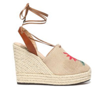 Embroidered Canvas Wedge Espadrilles Ecru