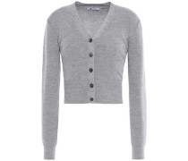 Cropped Cutout Twisted Ribbed Wool Cardigan Gray