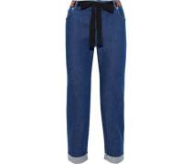 Tie-front Cropped Mid-rise Slim-leg Jeans Mid Denim
