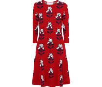 Flared Wool-blend Floral-jacquard Dress Crimson