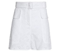 Belted broderie anglaise cotton-blend shorts