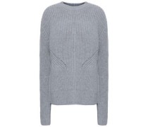 Ribbed Merino Wool And Cashmere-blend Sweater Light Gray