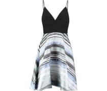 Printed jacquard and plissé-chiffon mini dress