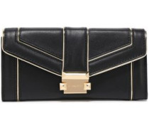 Metallic-trimmed Leather Continental Wallet Black Size --
