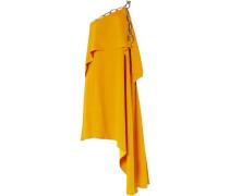 Woman Asymmetric Draped Chain-embellished Crepe Dress Marigold