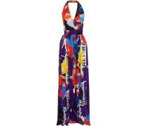 Printed Silk-georgette Halterneck Maxi Dress Multicolor