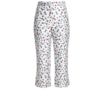 Cropped floral-jacquard flared pants