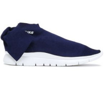 Bow-embellished Stretch-knit Sneakers Navy
