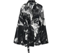 Woman Printed Silk-satin Jacket Black
