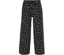 Orla Cropped Printed Silk Crepe De Chine Wide-leg Pants Black