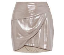 Woman Wrap-effect Lamé Mini Skirt Platinum