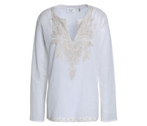 Embroidered Cotton-gauze Blouse Ecru