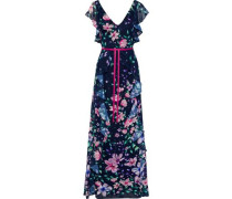 Ruffled Floral-print Fil Coupé Chiffon Gown Indigo Size 14